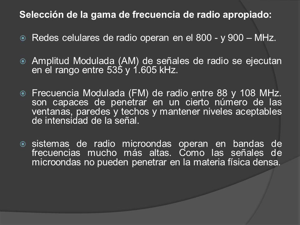 Selección de la gama de frecuencia de radio apropiado: Redes celulares de radio operan en el 800 - y 900 – MHz. Amplitud Modulada (AM) de señales de r
