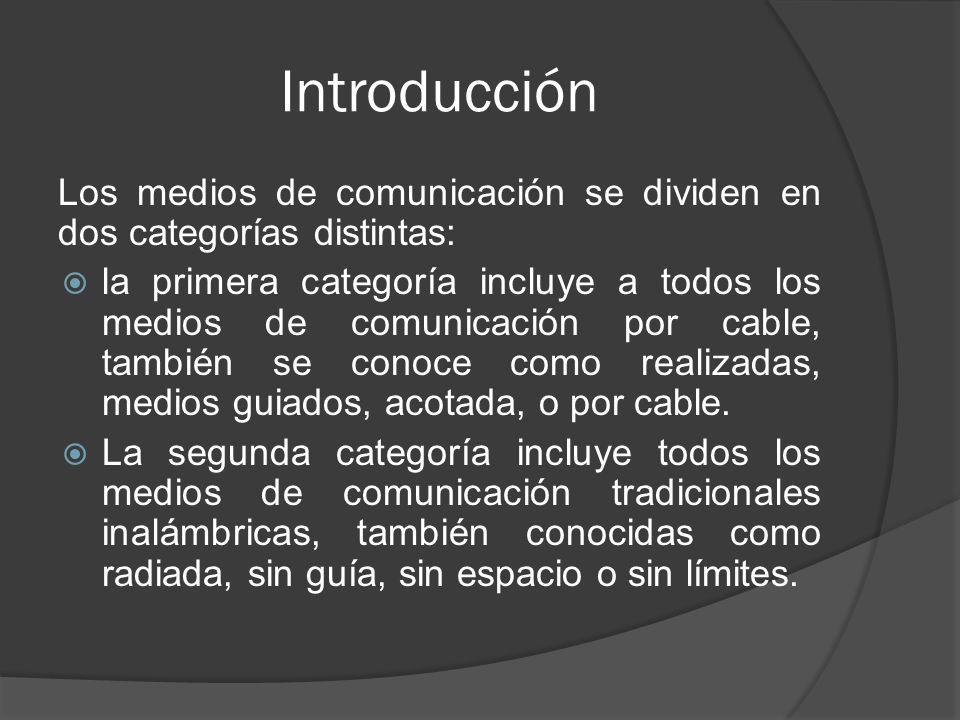 Introducción Los medios de comunicación se dividen en dos categorías distintas: la primera categoría incluye a todos los medios de comunicación por ca