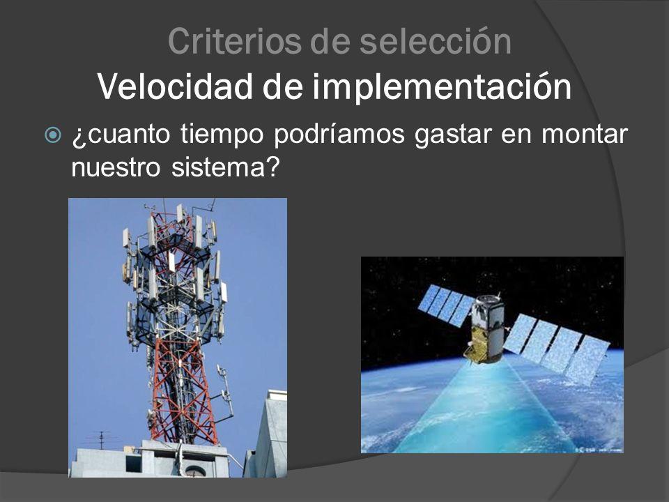Criterios de selección Velocidad de implementación ¿cuanto tiempo podríamos gastar en montar nuestro sistema?