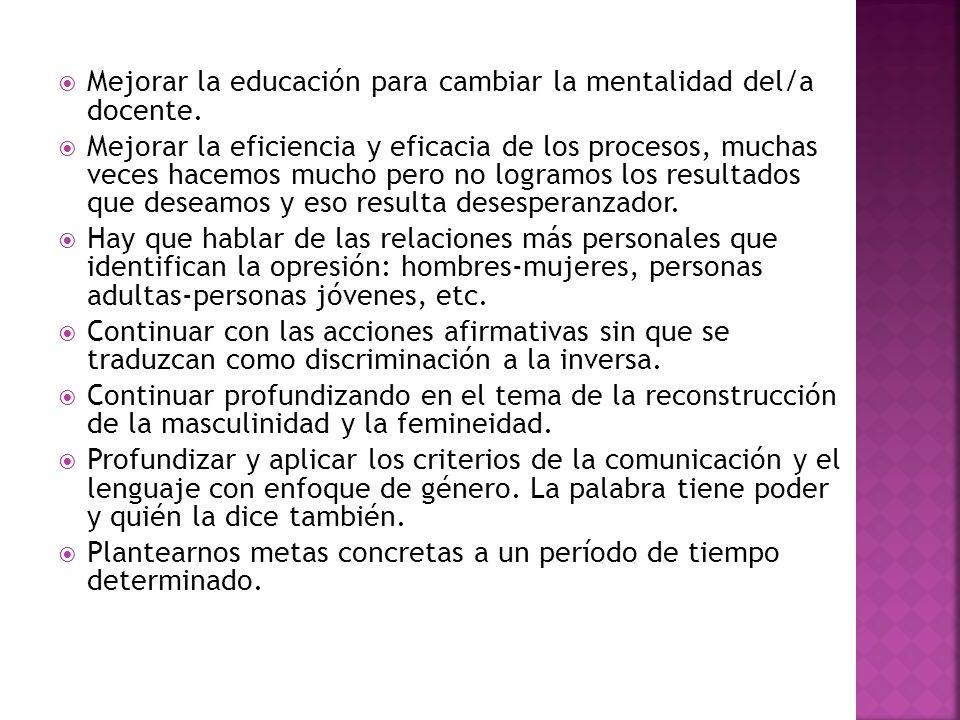 Mejorar la educación para cambiar la mentalidad del/a docente.