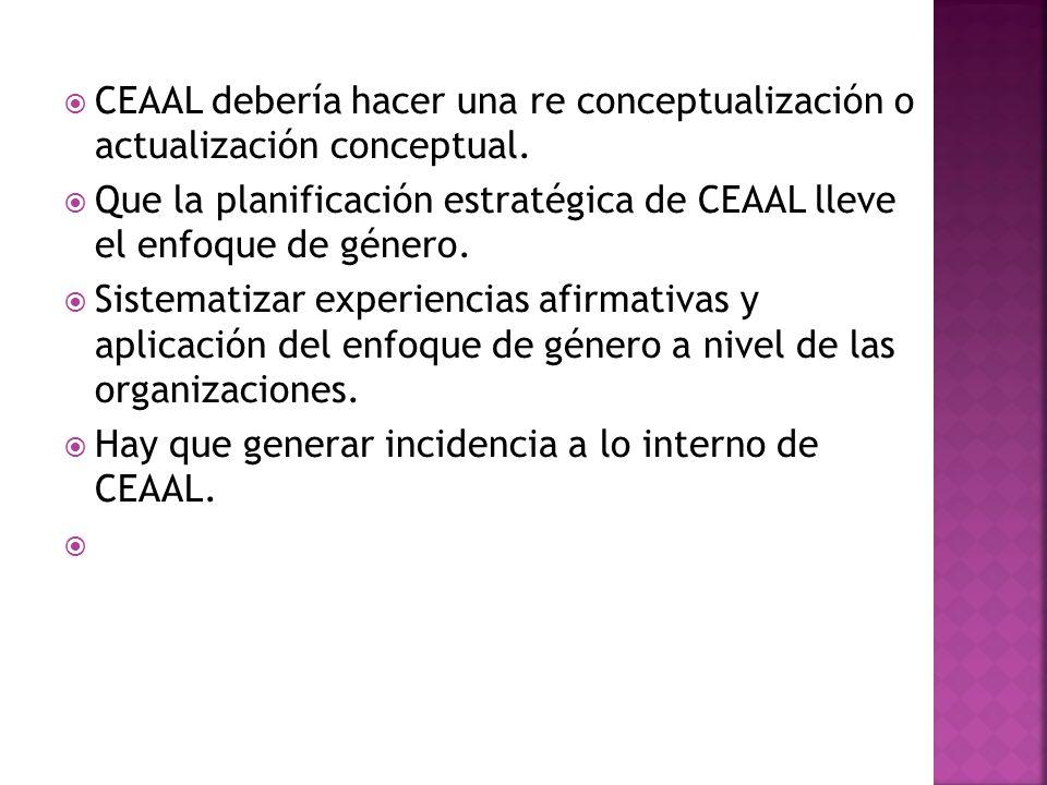 CEAAL debería hacer una re conceptualización o actualización conceptual.