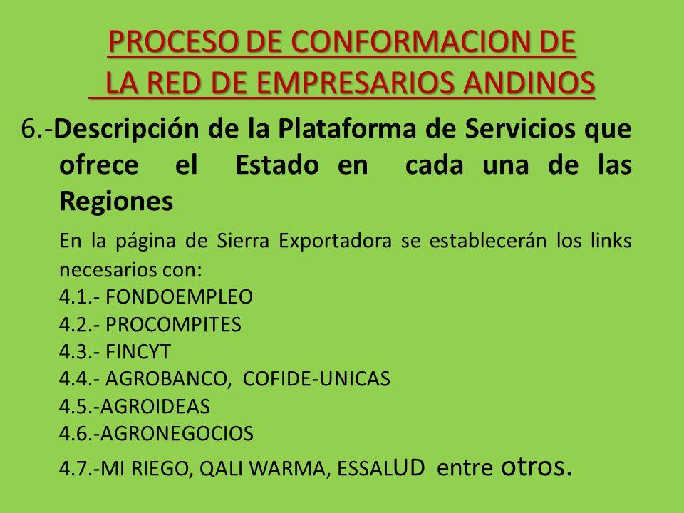 6.-Descripción de la Plataforma de Servicios que ofrece el Estado en cada una de las Regiones En la página de Sierra Exportadora se establecerán los l