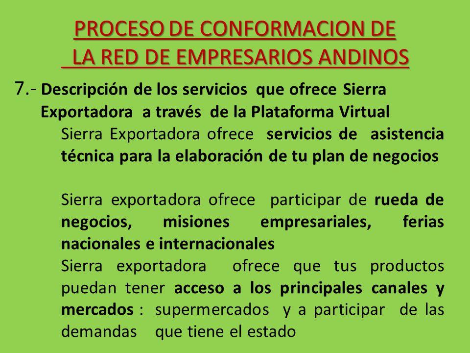 7.- Descripción de los servicios que ofrece Sierra Exportadora a través de la Plataforma Virtual Sierra Exportadora ofrece servicios de asistencia téc