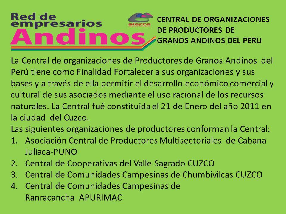 CENTRAL DE ORGANIZACIONES DE PRODUCTORES DE GRANOS ANDINOS DEL PERU La Central de organizaciones de Productores de Granos Andinos del Perú tiene como
