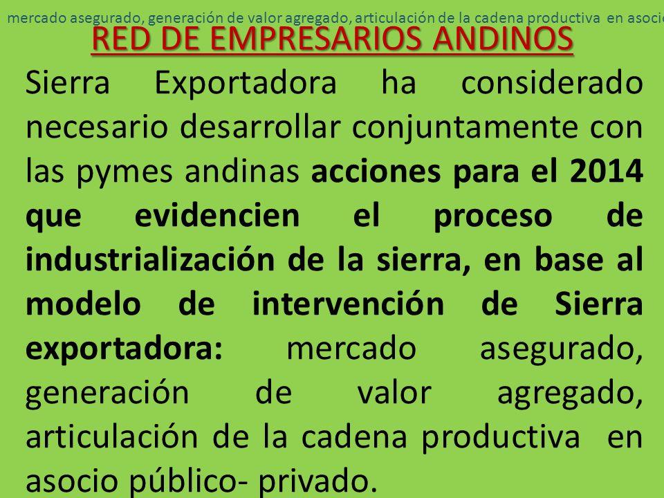 La Red de Empresarios Andinos esta conformada: Pymes Andinas Exportadoras Pymes Andinas con Mercado local Pymes Andinas Emprendedoras