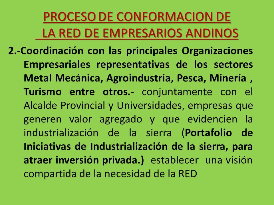 2.-Coordinación con las principales Organizaciones Empresariales representativas de los sectores Metal Mecánica, Agroindustria, Pesca, Minería, Turism