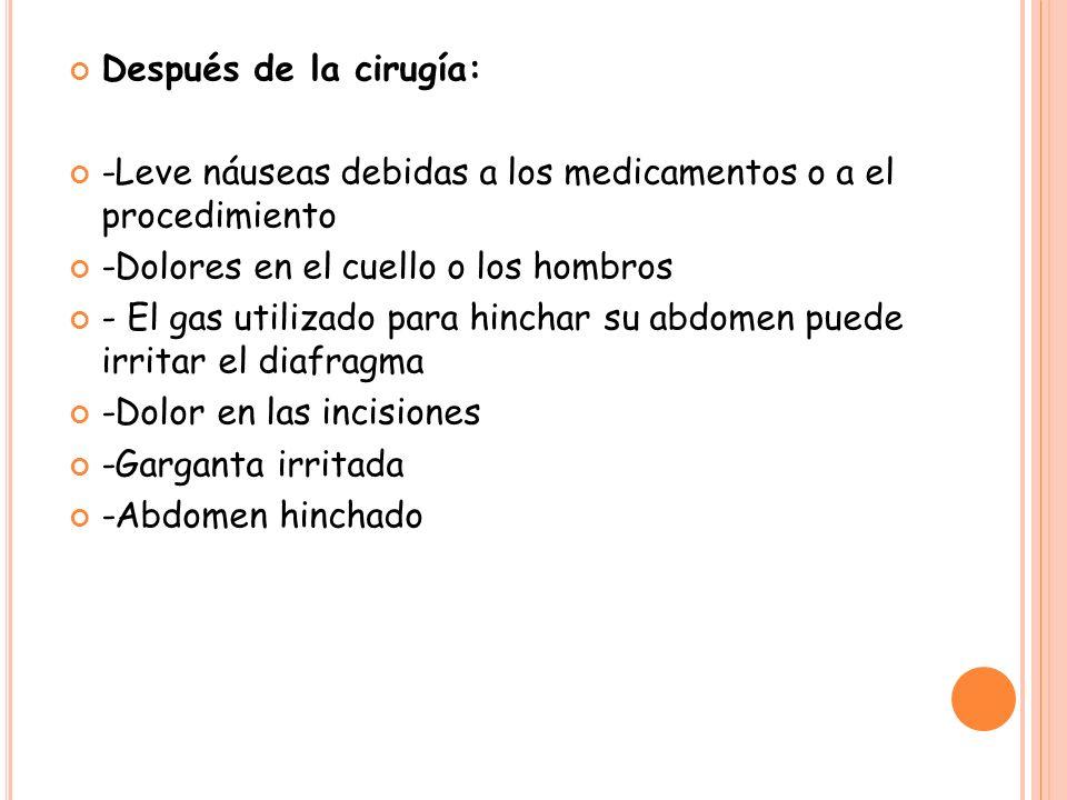 Después de la cirugía: -Leve náuseas debidas a los medicamentos o a el procedimiento -Dolores en el cuello o los hombros - El gas utilizado para hinch