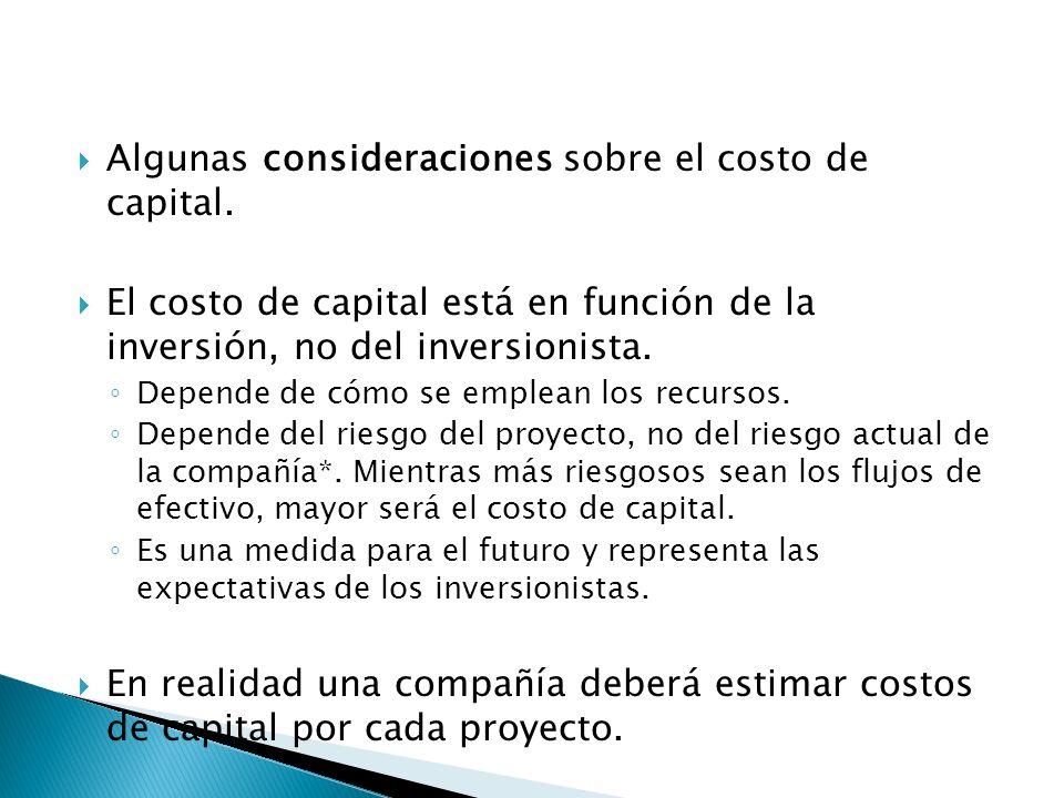 Algunas consideraciones sobre el costo de capital. El costo de capital está en función de la inversión, no del inversionista. Depende de cómo se emple