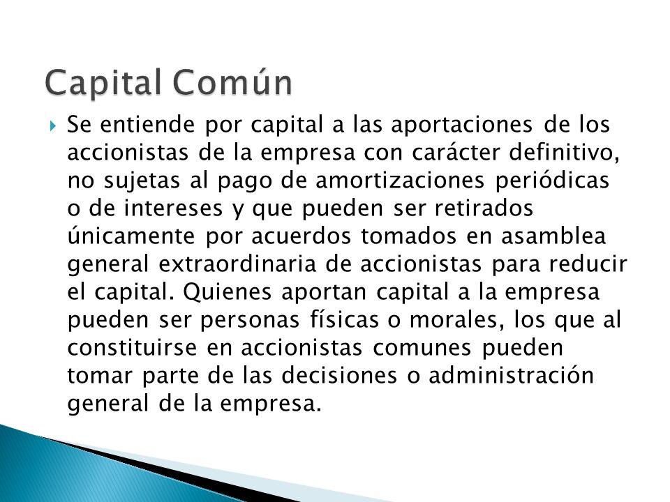 Se entiende por capital a las aportaciones de los accionistas de la empresa con carácter definitivo, no sujetas al pago de amortizaciones periódicas o