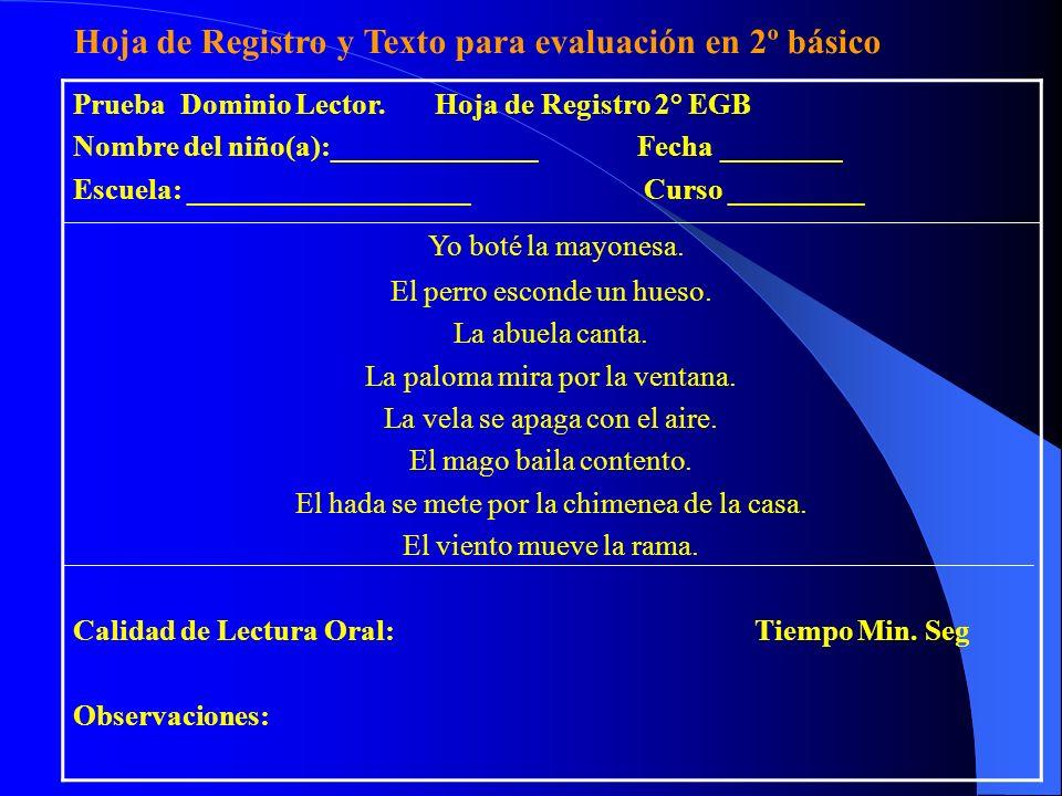 Prueba Dominio Lector. Hoja de Registro 2° EGB Nombre del niño(a):______________ Fecha ________ Escuela: ___________________ Curso _________ Yo boté l