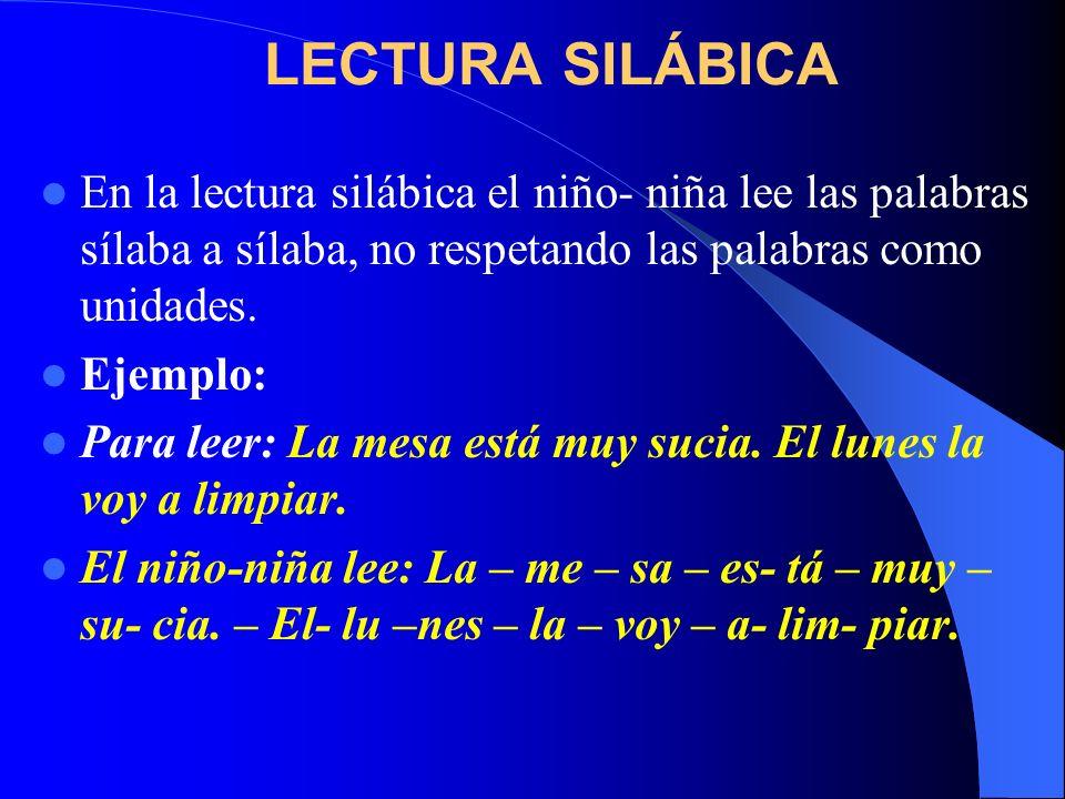 LECTURA SILÁBICA En la lectura silábica el niño- niña lee las palabras sílaba a sílaba, no respetando las palabras como unidades. Ejemplo: Para leer: