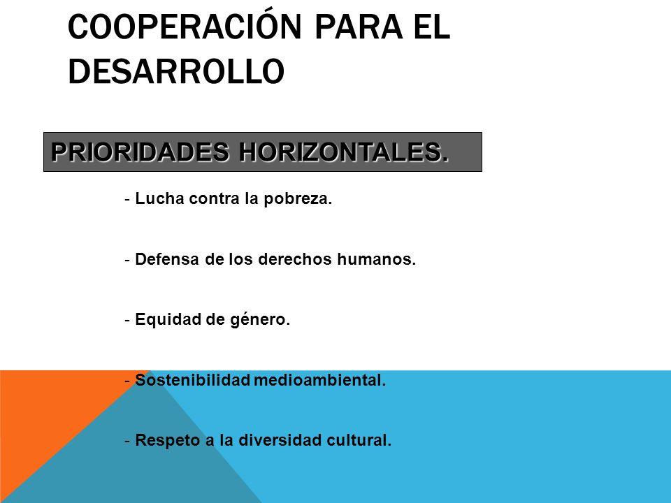 COOPERACIÓN PARA EL DESARROLLO PRIORIDADES HORIZONTALES. - Lucha contra la pobreza. - Defensa de los derechos humanos. - Equidad de género. - Sostenib