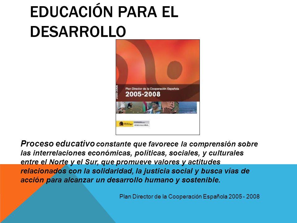EDUCACIÓN PARA EL DESARROLLO Proceso educativo constante que favorece la comprensión sobre las interrelaciones económicas, políticas, sociales, y cult