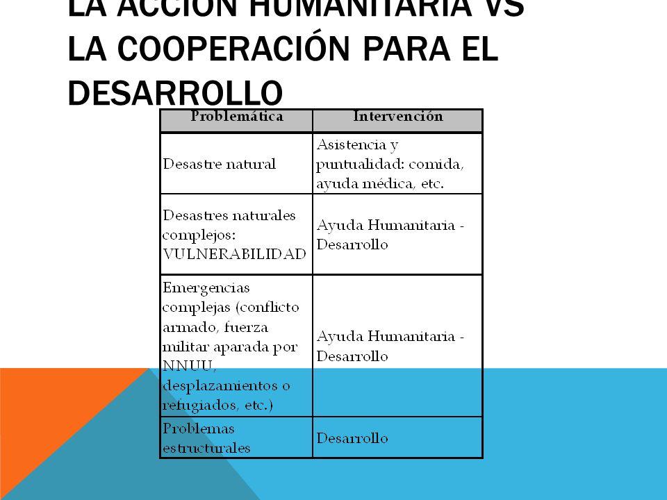 LA ACCIÓN HUMANITARIA VS LA COOPERACIÓN PARA EL DESARROLLO