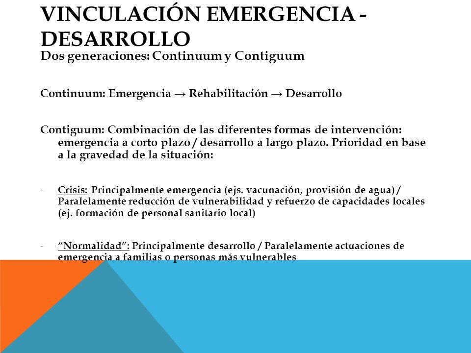 VINCULACIÓN EMERGENCIA - DESARROLLO Dos generaciones: Continuum y Contiguum Continuum: Emergencia Rehabilitación Desarrollo Contiguum: Combinación de