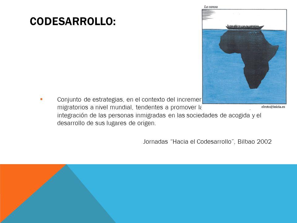 CODESARROLLO: Conjunto de estrategias, en el contexto del incremento de los movimientos migratorios a nivel mundial, tendentes a promover la intercult
