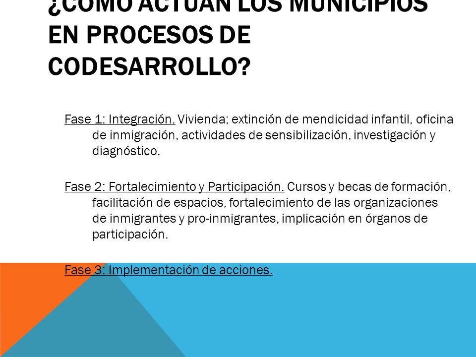 ¿CÓMO ACTÚAN LOS MUNICIPIOS EN PROCESOS DE CODESARROLLO? Fase 1: Integración. Vivienda; extinción de mendicidad infantil, oficina de inmigración, acti