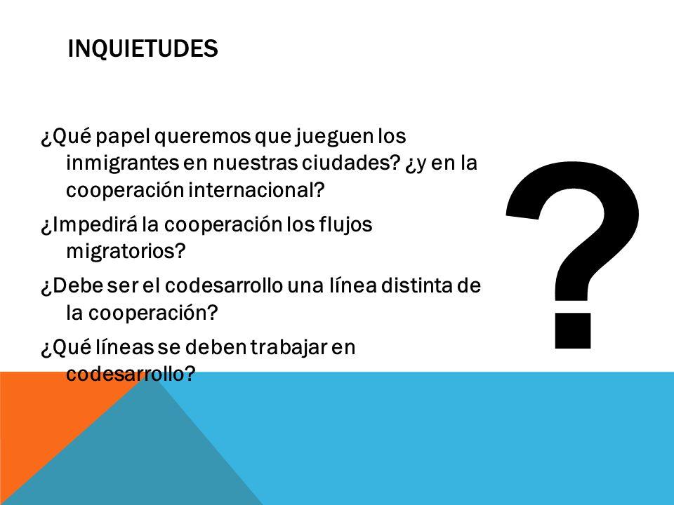 INQUIETUDES ¿Qué papel queremos que jueguen los inmigrantes en nuestras ciudades? ¿y en la cooperación internacional? ¿Impedirá la cooperación los flu