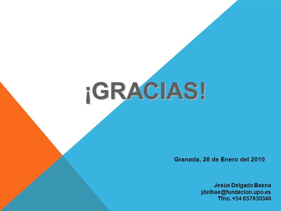Jesús Delgado Baena jdelbae@fundacion.upo.es Tfno. +34 657630346 Granada, 28 de Enero del 2010 ¡GRACIAS!