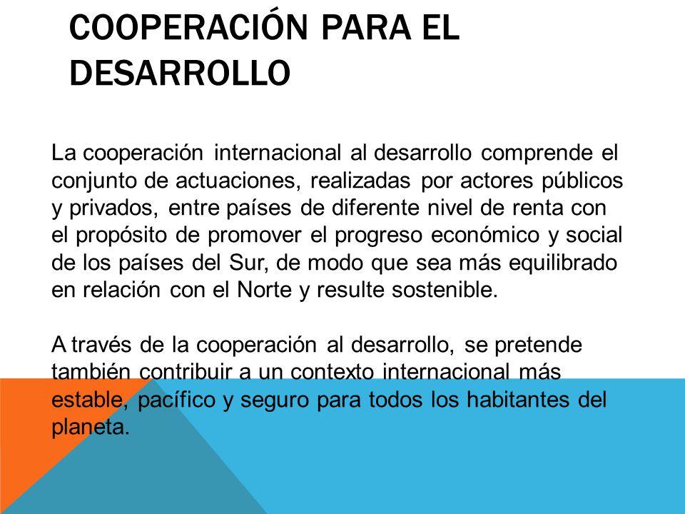 COOPERACIÓN PARA EL DESARROLLO La cooperación internacional al desarrollo comprende el conjunto de actuaciones, realizadas por actores públicos y priv