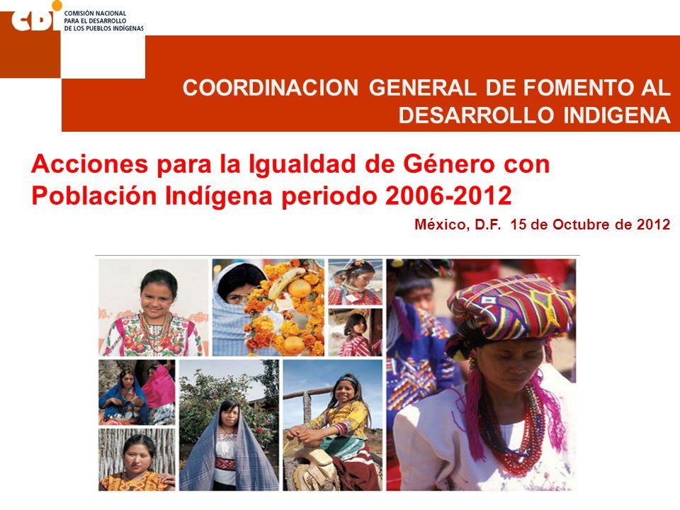 COORDINACION GENERAL DE FOMENTO AL DESARROLLO INDIGENA Acciones para la Igualdad de Género con Población Indígena periodo 2006-2012 México, D.F. 15 de
