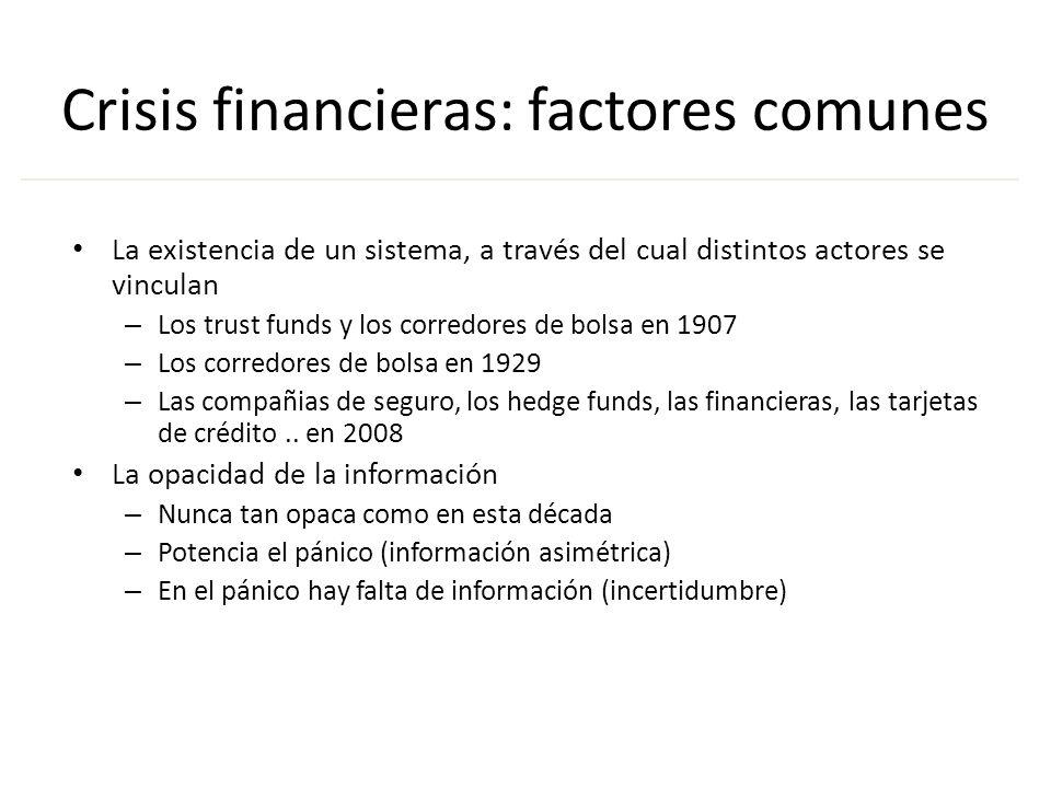 Crisis financieras: factores comunes La existencia de un sistema, a través del cual distintos actores se vinculan – Los trust funds y los corredores d