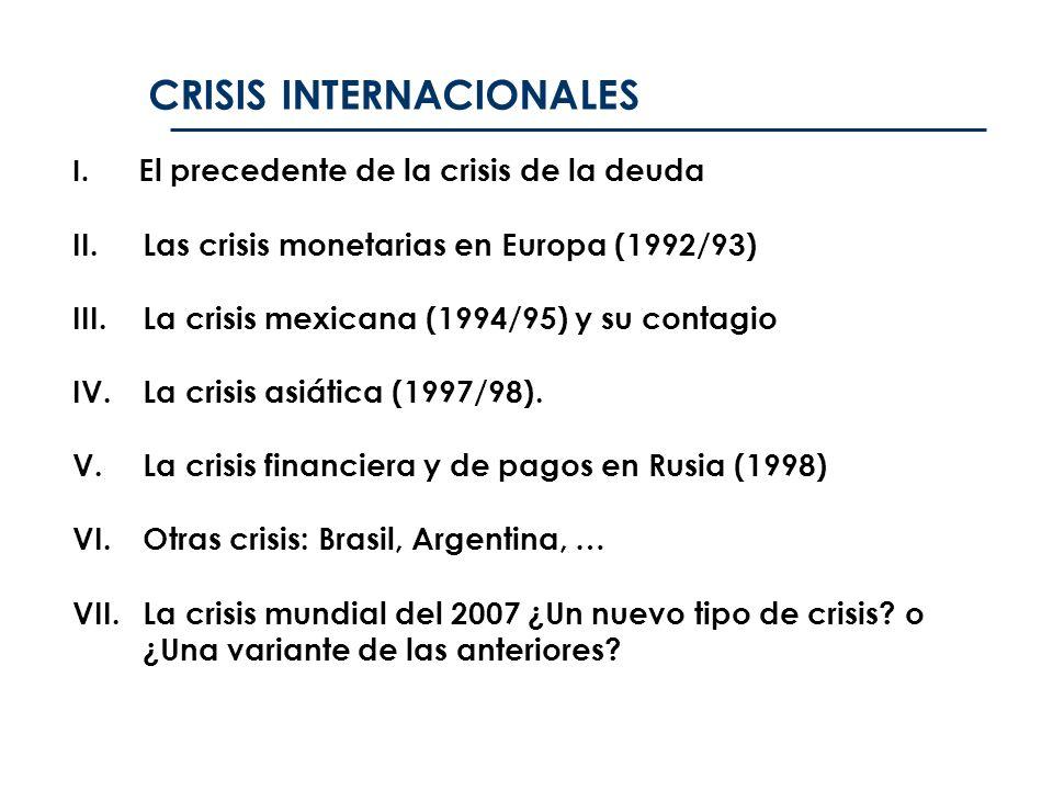 I. El precedente de la crisis de la deuda II.Las crisis monetarias en Europa (1992/93) III.La crisis mexicana (1994/95) y su contagio IV.La crisis asi