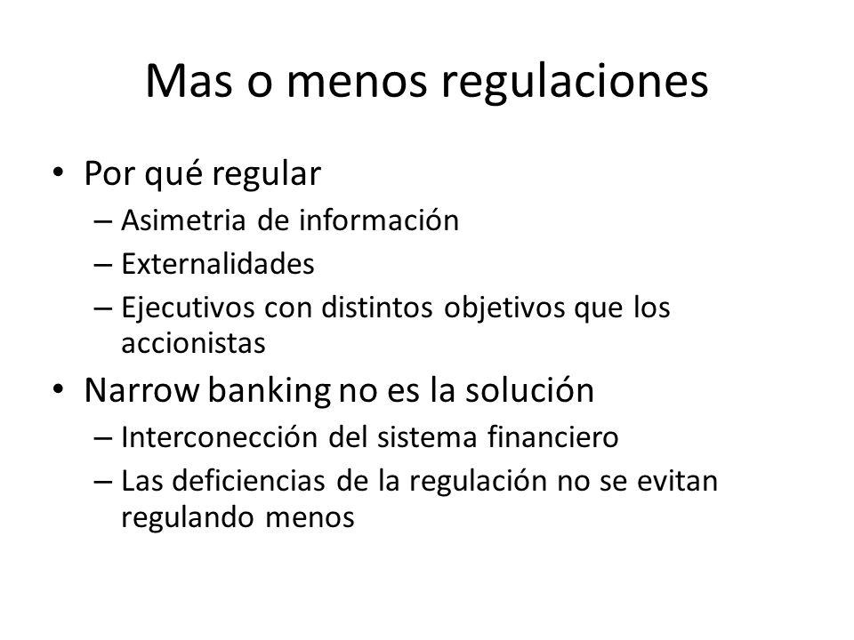 Mas o menos regulaciones Por qué regular – Asimetria de información – Externalidades – Ejecutivos con distintos objetivos que los accionistas Narrow b