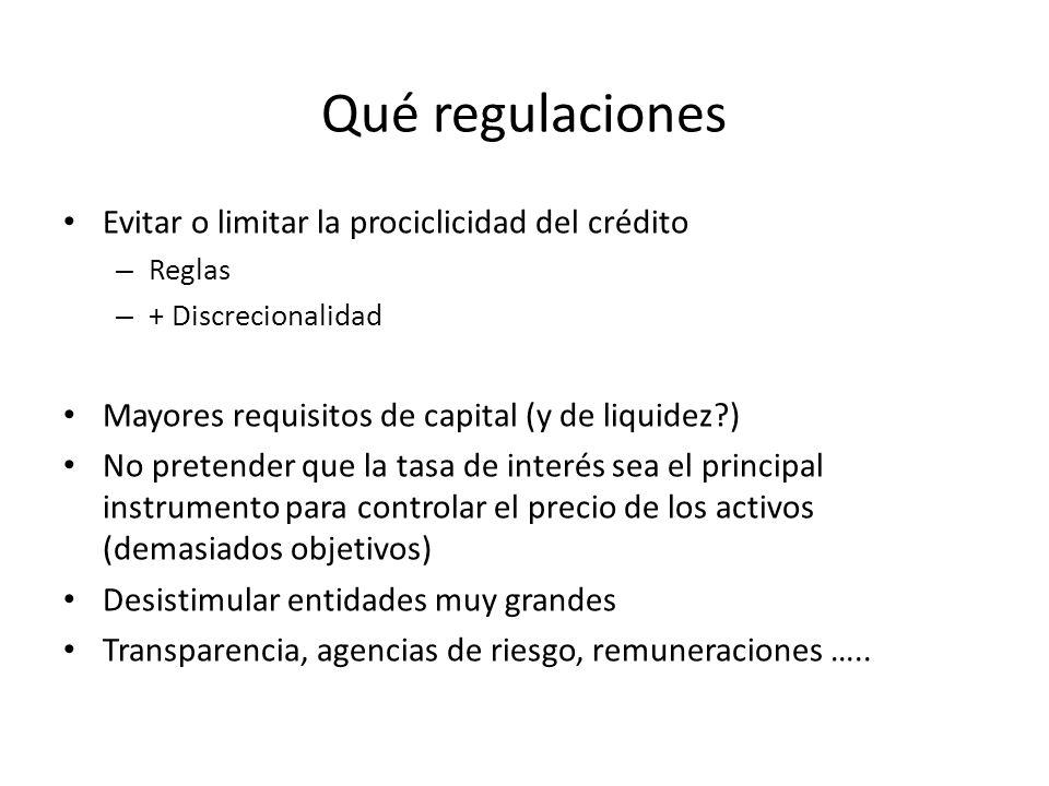 Qué regulaciones Evitar o limitar la prociclicidad del crédito – Reglas – + Discrecionalidad Mayores requisitos de capital (y de liquidez?) No pretend
