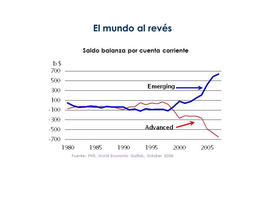 6 El mundo al revés Saldo balanza por cuenta corriente Fuente: FMI, World Economic Outllok, October 2008