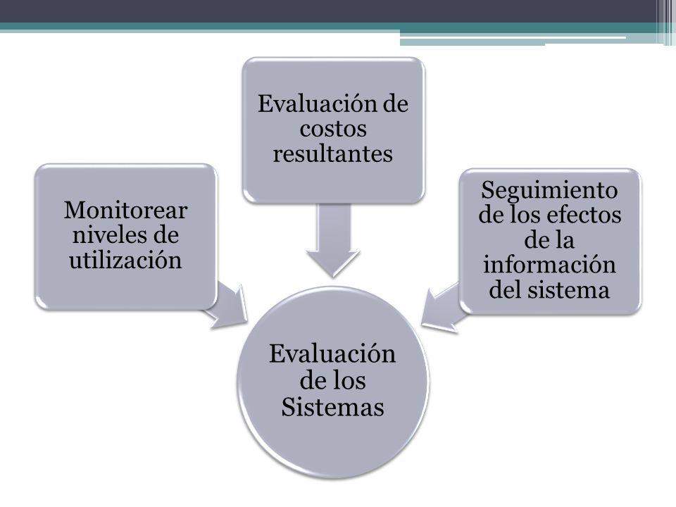 Evaluación de los Sistemas Monitorear niveles de utilización Evaluación de costos resultantes Seguimiento de los efectos de la información del sistema