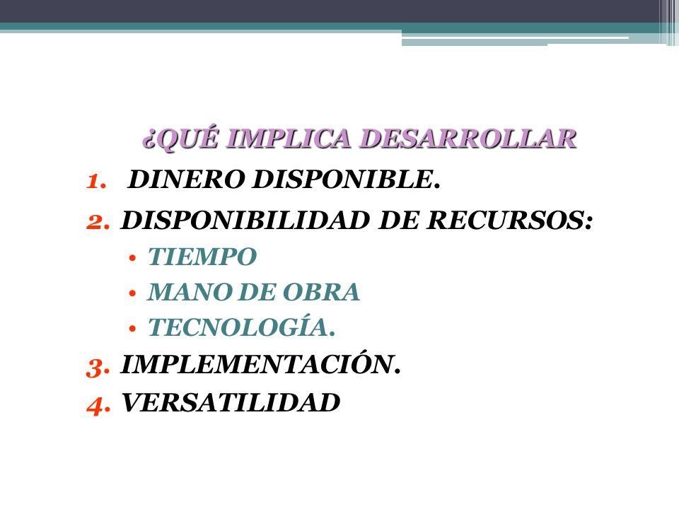 ¿QUÉ IMPLICA DESARROLLAR 1.DINERO DISPONIBLE. 2.DISPONIBILIDAD DE RECURSOS: TIEMPO MANO DE OBRA TECNOLOGÍA. 3.IMPLEMENTACIÓN. 4.VERSATILIDAD