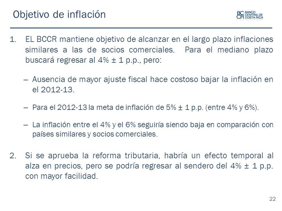 Objetivo de inflación 1.EL BCCR mantiene objetivo de alcanzar en el largo plazo inflaciones similares a las de socios comerciales. Para el mediano pla