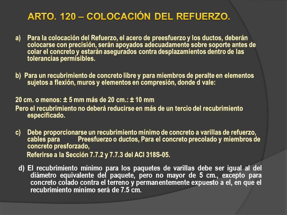 TABLA No 28 No expuesto al intemperismo ni en contacto con el terreno; losas, muros, nervaduras: Protección de Concreto no Presforzado para el Refuerzo DescripciónRecubrimiento Mínimo cm.
