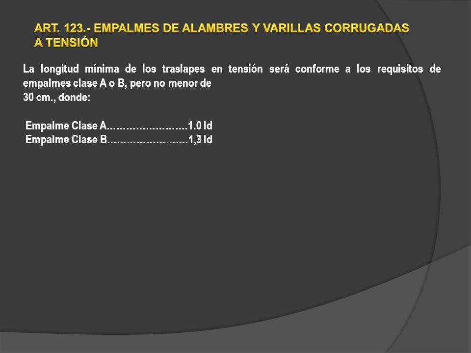 La longitud mínima de los traslapes en tensión será conforme a los requisitos de empalmes clase A o B, pero no menor de 30 cm., donde: Empalme Clase A…………………….1.0 ld Empalme Clase B…………………….1,3 ld