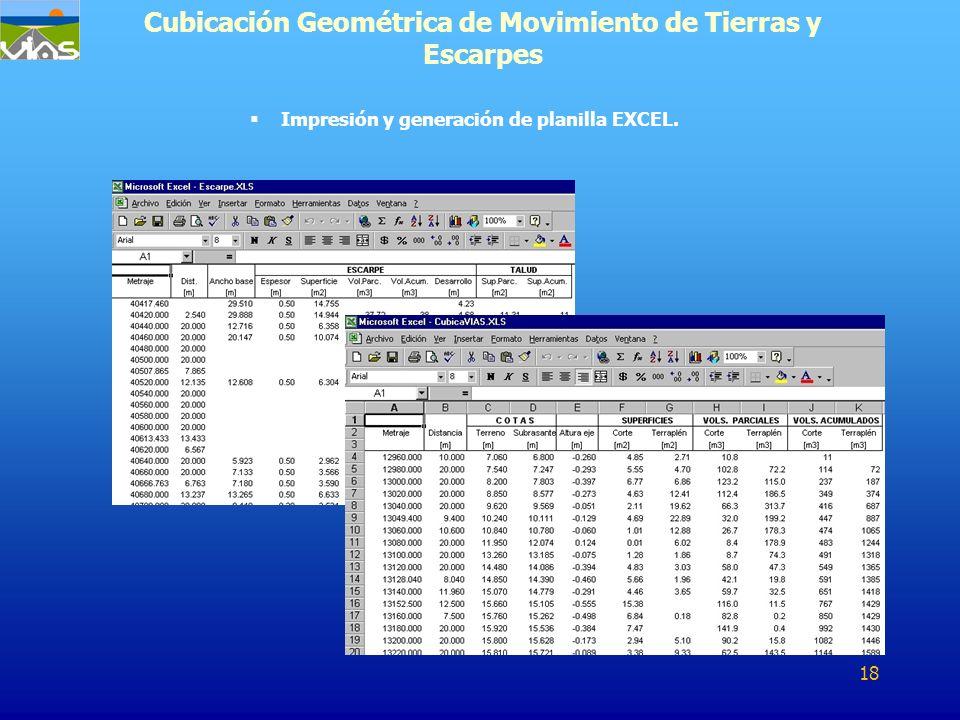 Impresión y generación de planilla EXCEL. Cubicación Geométrica de Movimiento de Tierras y Escarpes 18