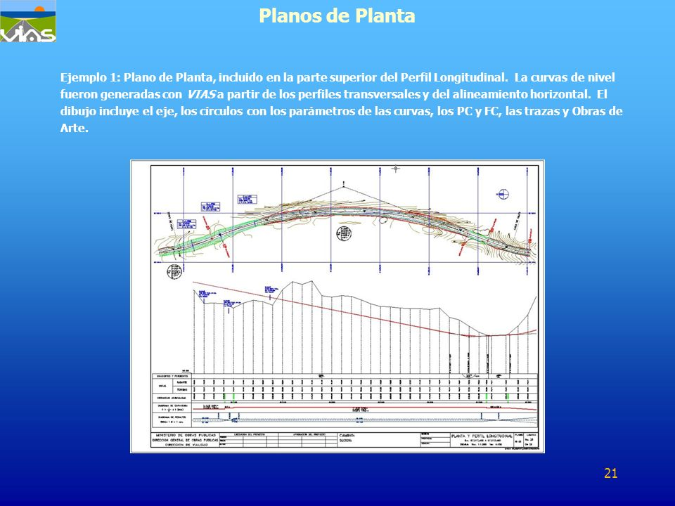 Ejemplo 1: Plano de Planta, incluido en la parte superior del Perfil Longitudinal. La curvas de nivel fueron generadas con VIAS a partir de los perfil
