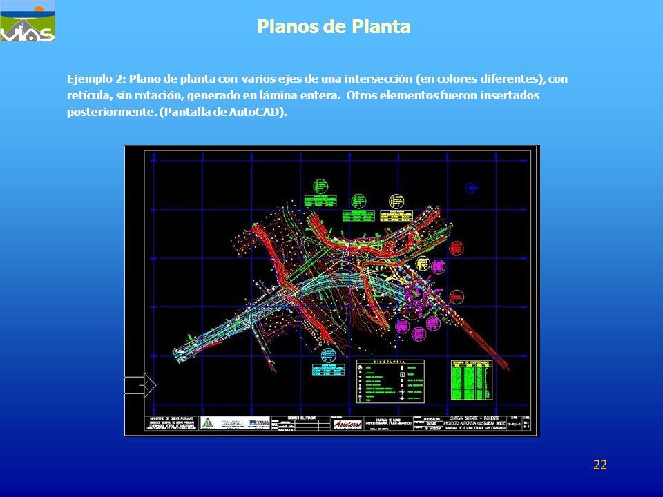 Ejemplo 2: Plano de planta con varios ejes de una intersección (en colores diferentes), con retícula, sin rotación, generado en lámina entera. Otros e