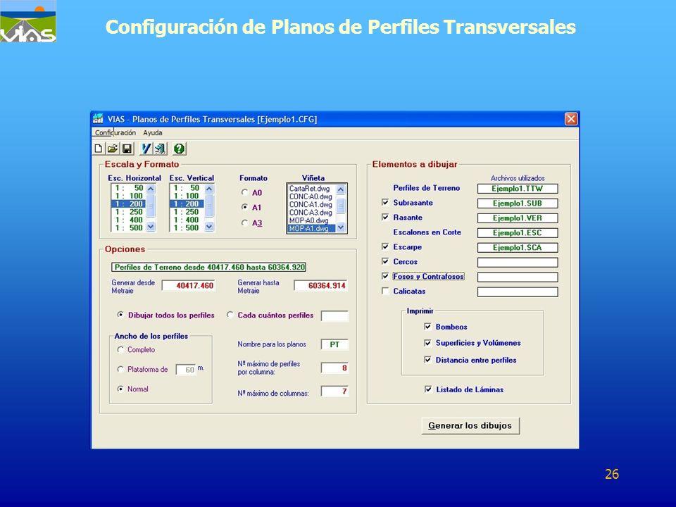 Configuración de Planos de Perfiles Transversales 26