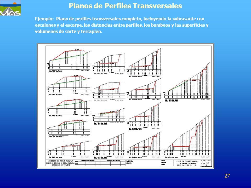 Ejemplo: Plano de perfiles transversales completo, incluyendo la subrasante con escalones y el escarpe, las distancias entre perfiles, los bombeos y l