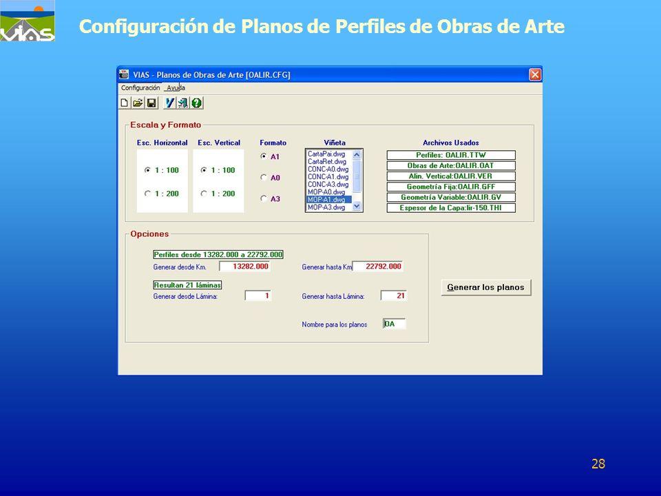 Configuración de Planos de Perfiles de Obras de Arte 28
