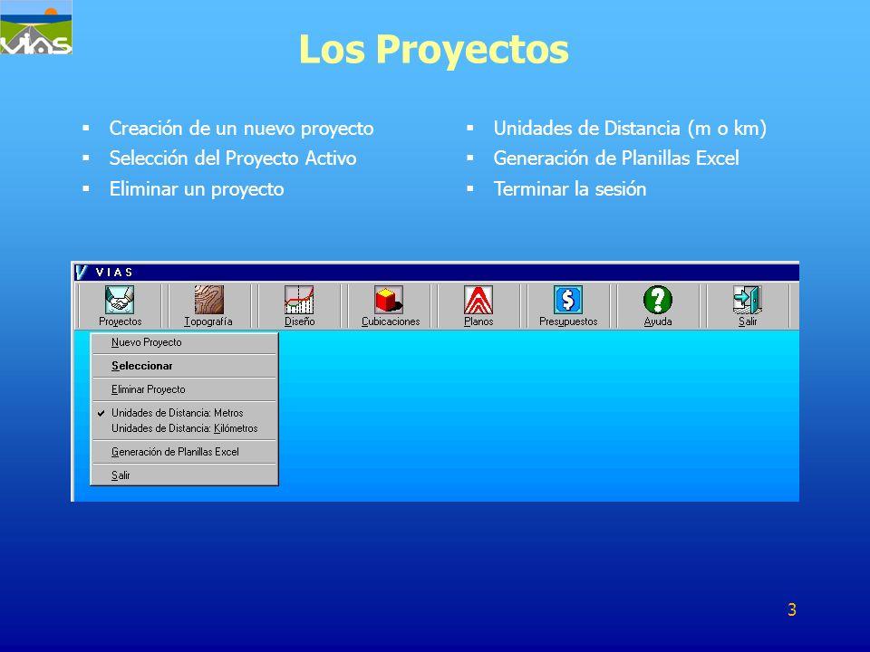 Creación de un nuevo proyecto Selección del Proyecto Activo Eliminar un proyecto Los Proyectos Unidades de Distancia (m o km) Generación de Planillas