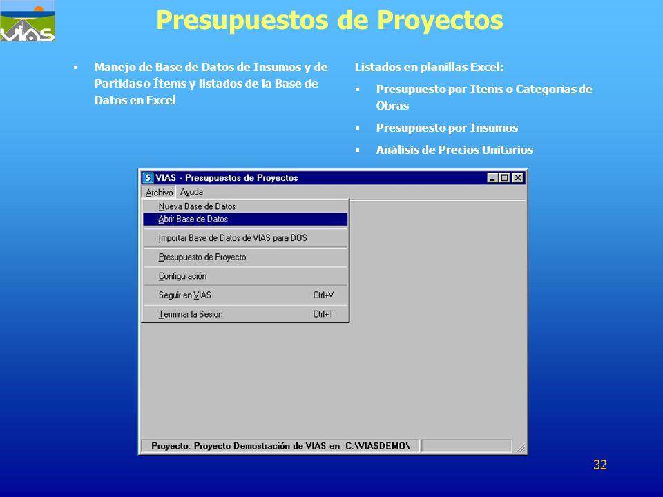 Manejo de Base de Datos de Insumos y de Partidas o Ítems y listados de la Base de Datos en Excel Presupuestos de Proyectos Listados en planillas Excel