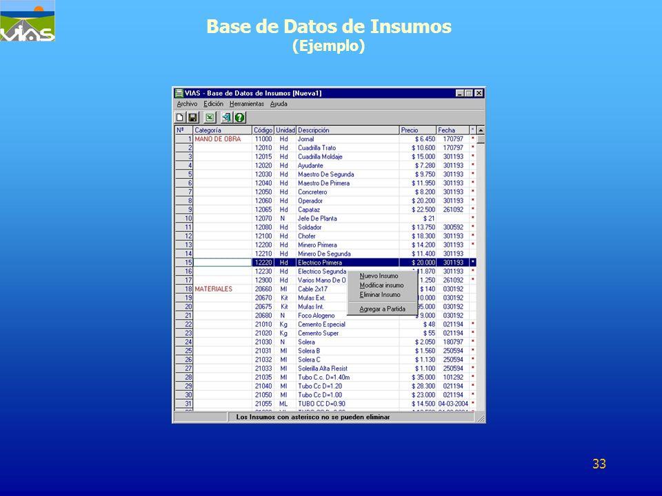 Base de Datos de Insumos (Ejemplo) 33