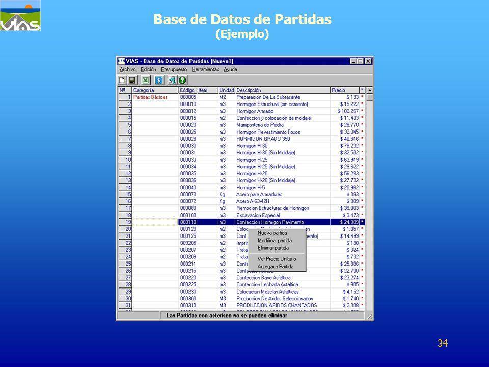 Base de Datos de Partidas (Ejemplo) 34