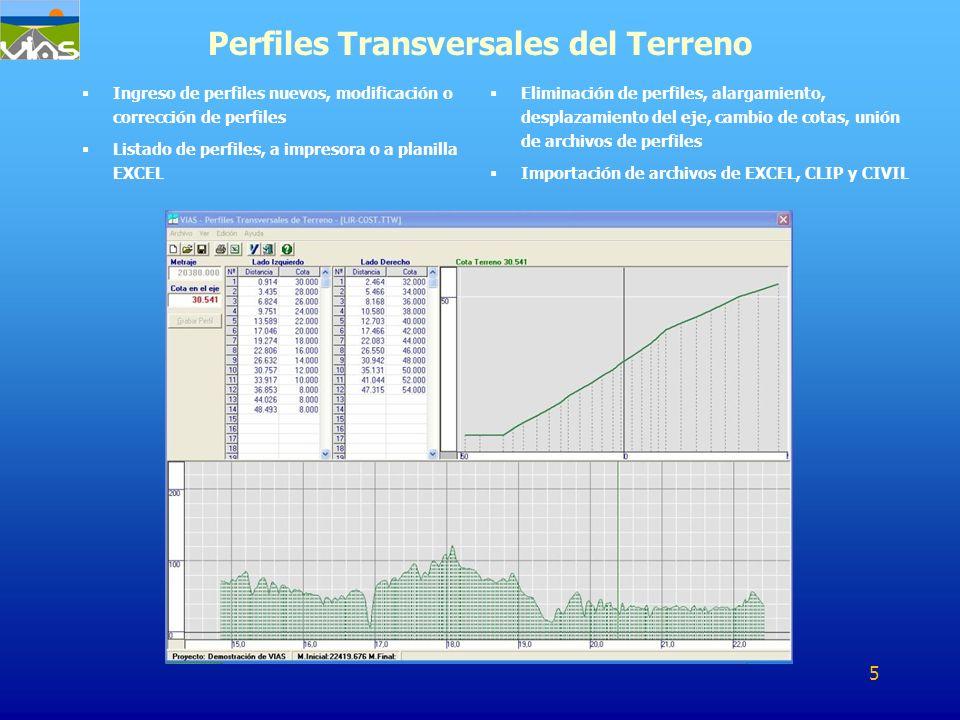 Ingreso de perfiles nuevos, modificación o corrección de perfiles Listado de perfiles, a impresora o a planilla EXCEL Perfiles Transversales del Terre