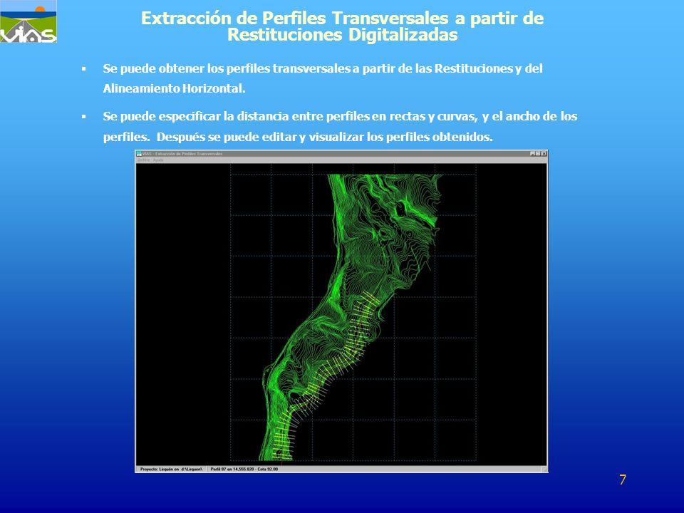 Se puede obtener los perfiles transversales a partir de las Restituciones y del Alineamiento Horizontal. Se puede especificar la distancia entre perfi