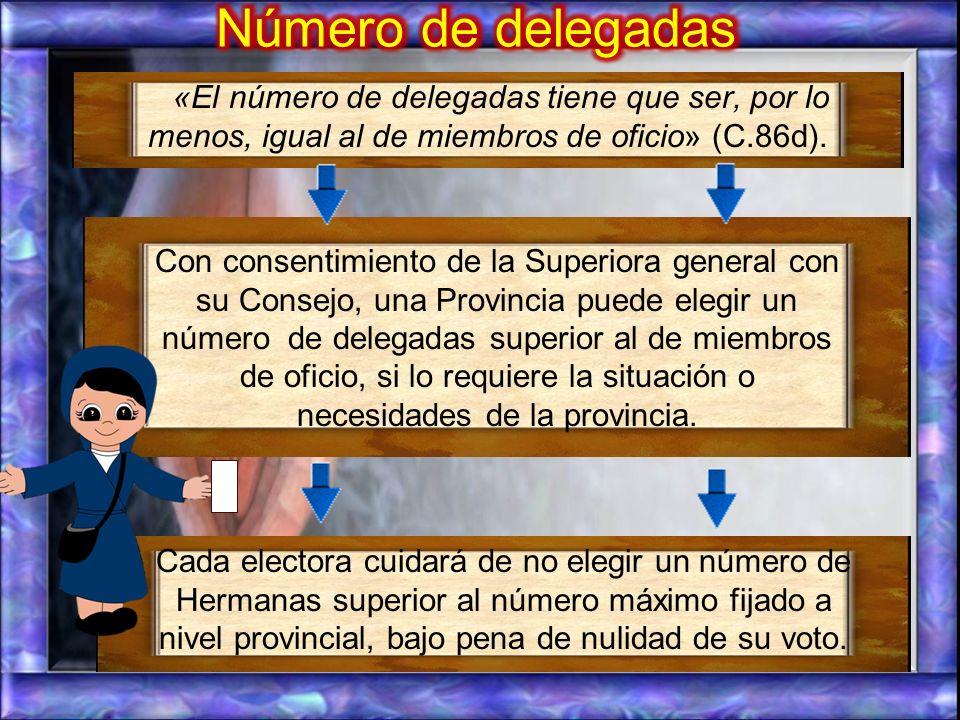 El método de elección de las delegadas puede ser: a.-Un método propuesto por la Visitadora con su Consejo y aprobado por la Superiora general con su C