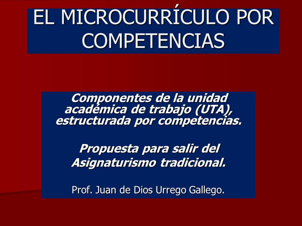 EL MICROCURRÍCULO POR COMPETENCIAS Componentes de la unidad académica de trabajo (UTA), estructurada por competencias.