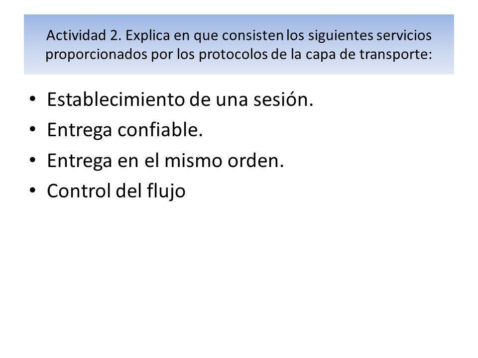 Actividad 2. Explica en que consisten los siguientes servicios proporcionados por los protocolos de la capa de transporte: Establecimiento de una sesi